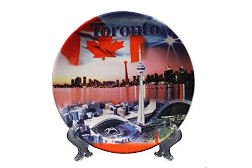 TORONTO , CANADA Country Flag , TORONTO SKYLINE Ceramic SMALL Souvenir PLATE Without Stand..Size : 7