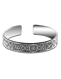 Jade Angel Retro Vintage Sterling Silver Cuff Bangle Bracelet for Mens and Womens