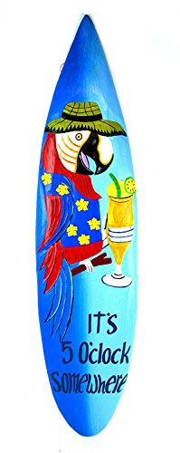 Its Five O'clock Somewhere Parrot Drinking Cocktail Surfboard Sign Hand Carved Out of Wood