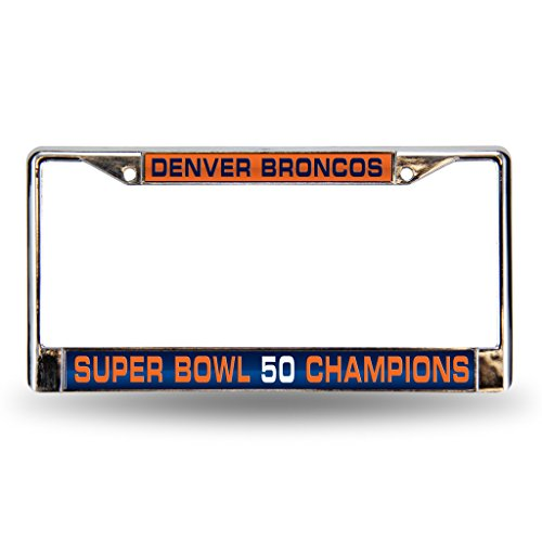 Rico NFL Denver Broncos Super Bowl 50 Champions Laser Cut Chrome Plate Frame,12-Inch by 6-Inch,Silver