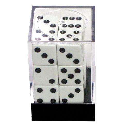 1 Dozen White Dice - 16mm by Bunco Game Shop