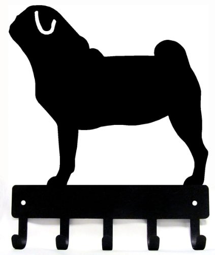 Pug Key Rack & Dog Leash Hanger - Small 6 inch by The Metal Peddler