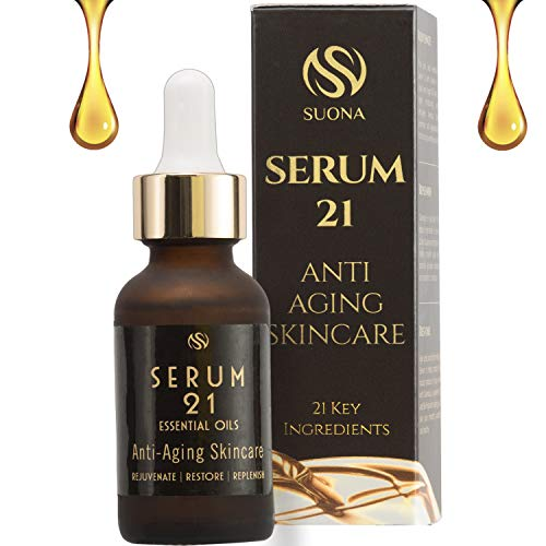 Anti Aging Face Oil Serum- Antioxidant Collagen Boosting Facial Oil-21 Natural Ingredients (Vit C,E,Peptides & Squalane).Wrinkle Repair for Woman,Men-Brightens & Tightens Skin. Unique Gift Idea ()