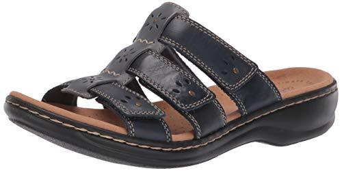 CLARKS Women's Leisa Spring Sandal, Navy Multi Leather, 110 M US