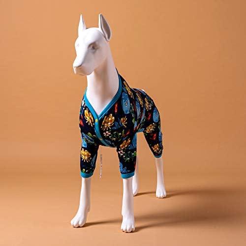 LovinPet Pijamas para perros grandes / Jersey elástico estampado de punto con estampados de la familia marina / Pijamas ligeros para mascotas / Pijamas para perros de cobertura completa Mono para perros grandes 10