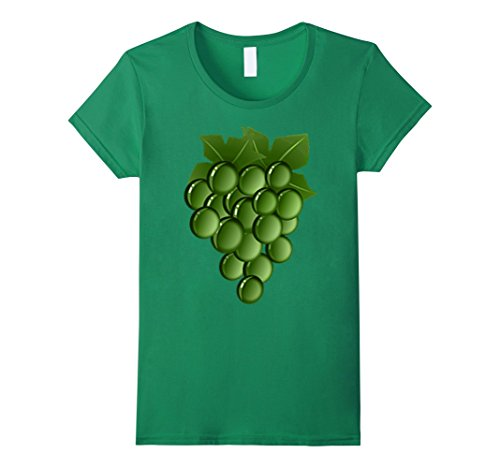 [Womens Green Grapes Costume T-Shirt Vine Vineyard Fruit Hanging Large Kelly Green] (Vineyard Halloween Costume)