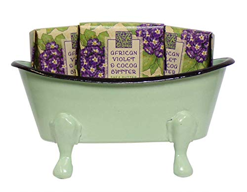 Mini Metal Bathtub Gift Set with 3 Shea Butter Moisturizing Soaps (African Violet)