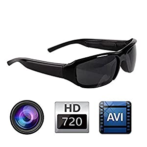 HD Polarized Sunglasses Mini Camera Hidden Video Camera Glasses Recorder DV Eyewear Camcorder Outdoor Sport Camera for Men, 720P HD, 5.0MP, Support to 32GB TF Card