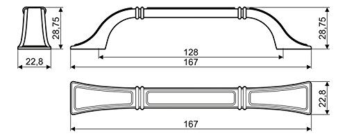 Antik Messing Gamet M/öbelgriff Schubladengriff Schrankgriff aus Metall Lochabstand 128 mm