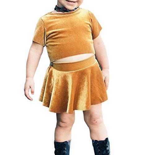 Short Sleeve Velvet Skirt - Newborn Baby Girls Clothes Set Pleuche Short Sleeve Tube Top and Skirt Outfit (12-24 Months, Gold)