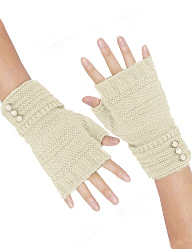 Acrylic Fingerless Gloves - Dahlia Women's Triple Button Acrylic Knit Fingerless Gloves - Cream