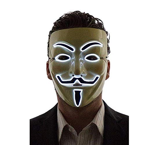 New Cool Wire Light Up Full Face LED V for Vendetta Anonymous Halloween Costume Dress Cosplay Mask Hot (White) -