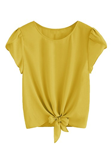 Romwe Women's Knot Front Cap Short Sleeve Summer Chiffon Blouse Top Mustard - Chiffon Mustard