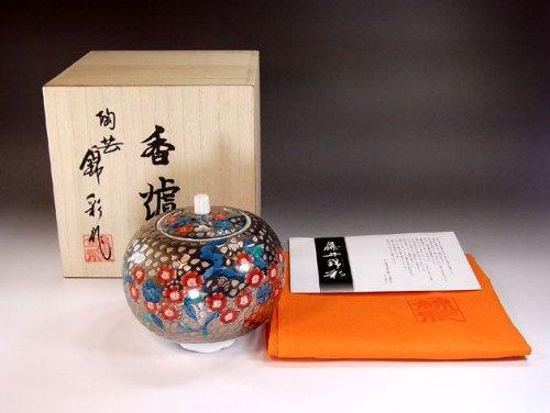 有田焼伊万里焼の高級香炉陶器|贈答品|ギフト|記念品|贈り物|プラチナ桜陶芸家 藤井錦彩 B00JB2WCK4