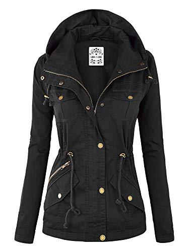 Lock and Love WJC643 Womens Pop of Color Parka Jacket L Black