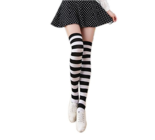 Womens Striped Thigh High Over Knee Stocking Socks YSW03D (Black&white Wide (Black And White Knee High Socks)