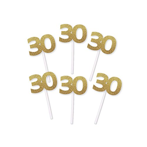 30th Birthday Cupcake toppers (Gold)