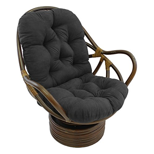 Micro Suede Rocker - International Caravan Rattan Swivel Rocker With Micro Suede Cushion, Black, 3310-MS-BK