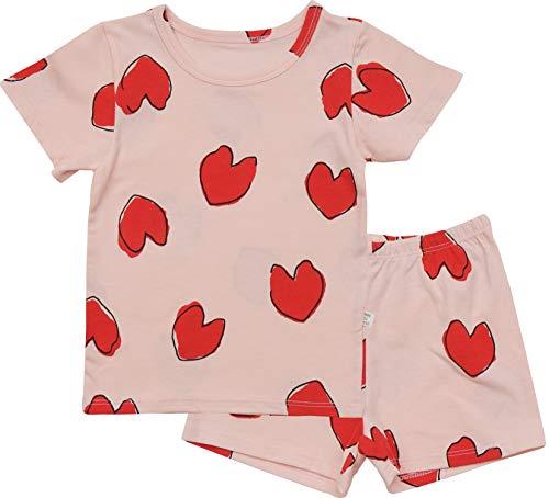 AVAUMA Baby Little Boy Girl Regular-Fit Cool Heart Pattern Pajamas Summer Short Sets Pjs Kids Clothes(Pink_JS)