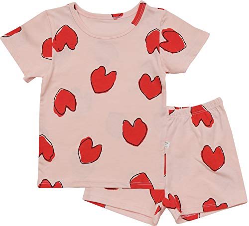AVAUMA Baby Little Boy Girl Regular-Fit Cool Heart Pattern Pajamas Summer Short Sets Pjs Kids -
