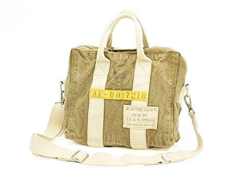 TOYS McCOY Aviator's Canvas Briefcase TMA1709 Men's A4 Casual Bag Khaki ()