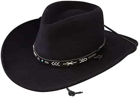 ae39aae0df563 Stetson Mens Santa Fe Chin Strap Wool Felt Crushable Water Repellent Black  Outdoor Collection Cowboy Hat