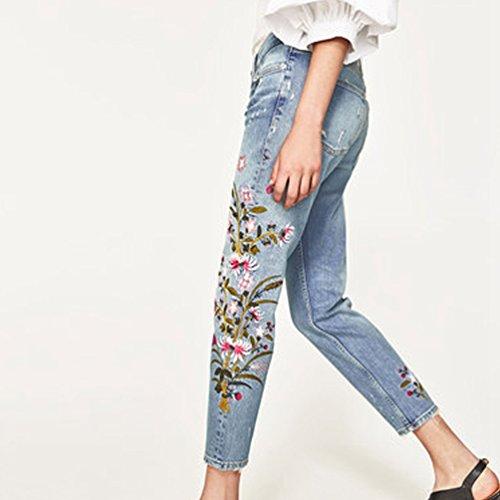 Clair Poches Dooxi Brod Pantalons Les Basse lgantes Denim Taille Bleu avec Jeans Trou Loose Femme Dcontracte fpCZf