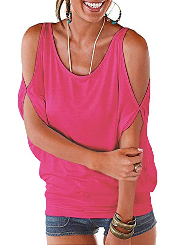 - LEIYEE Womens Hot Pink Cold Shoulder Tops Short Sleeve T Shirt Pullover Casual Dolman Blouses