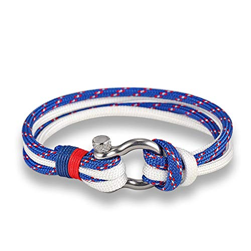 spyman 2019 Gifts Fashion Jewelry Navy Style Sport Camping Parachute Cord Survival Bracelet Men with Stainless Steel Shackle Buckle,SCM228,13.0Centimeters -
