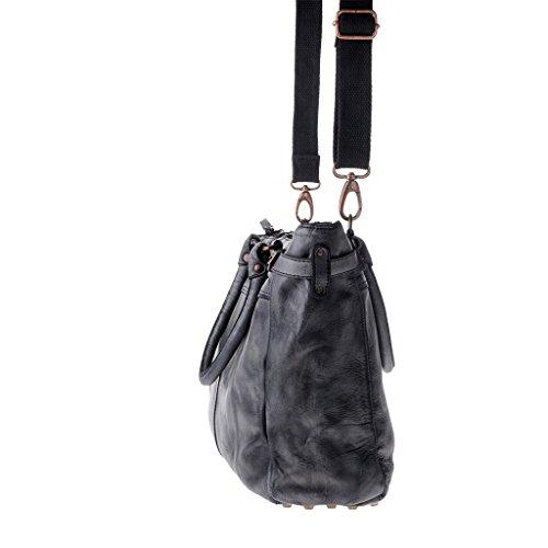 Borsa lavata in pelle tinta in capo da donna con borchie DUDU Black Slate