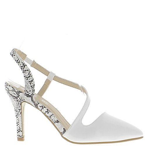 ChaussMoi White Pumps and Heels 10cm Open Sharp Snake 1ucsNml3fo