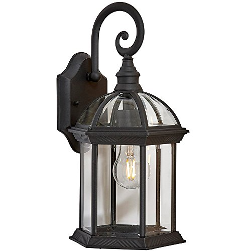 Classical Outdoor Wall Mount Sconce | Black Metal with Clear Glass | Downward Hanging Traditional Exterior Light with LED Edison Bulb 2700K Included (Hill Outdoor Hanging Wall)