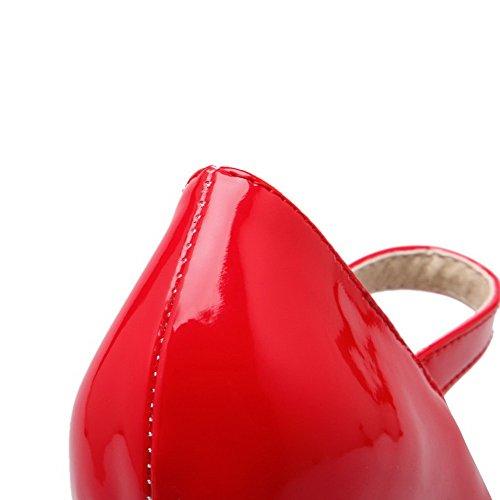 AllhqFashion Mujer Sólido Charol Tacón Medio Hebilla Puntera Cerrada Puntera Redonda De salón Rojo