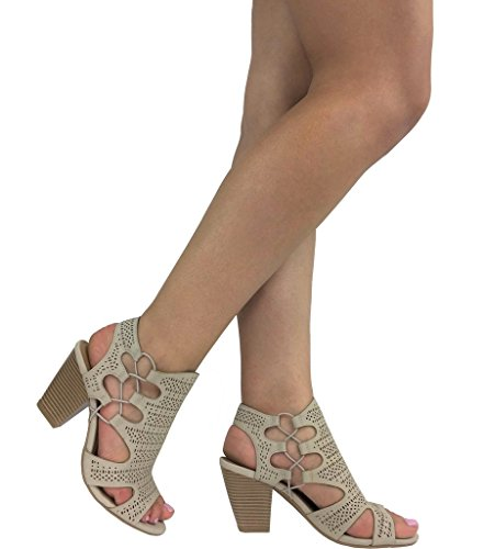 Lt Perforated Side City Heel Toe Sandal Chunky Taupe Lace up Classified Open Elastic Stacked wFFq7Ht6