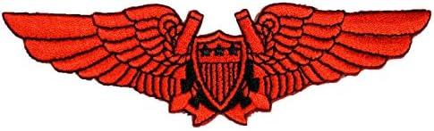刺繍アイロンワッペン・アップリケ・パッチ【ウイング】赤 ・軍物 アーミー 盾に羽根 空軍 エアフォース