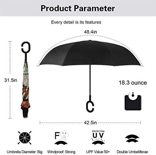 カリフォルニア州 ユニセックス二重層防水ストレート傘車逆折りたたみ傘C形ハンドル付き