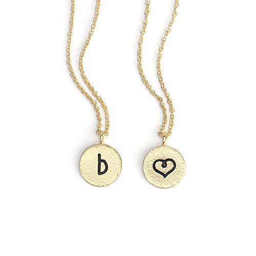 - KISSPAT Initial B Necklace Gold Plated Round Disc Letter Pendant Necklaces for Women Girls& Teens