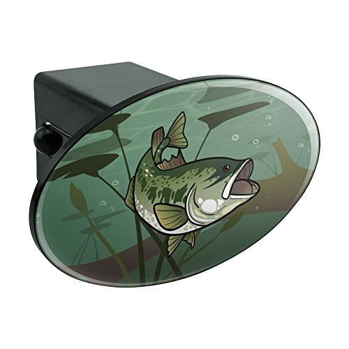 Bass Fish Swimming in River Oval Tow Hitch Cover Trailer Plug Insert 2