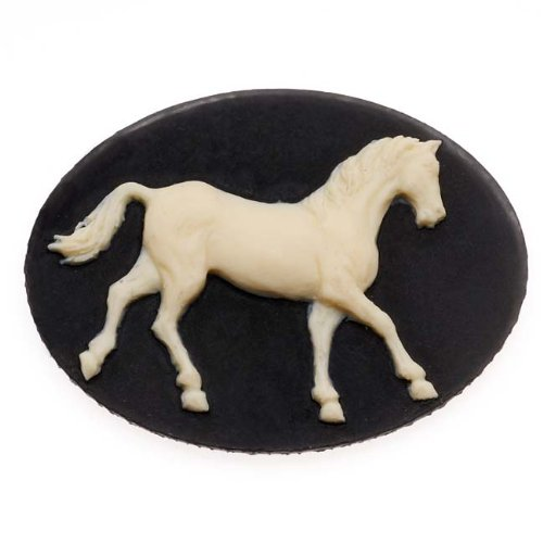 (Beadaholique Vintage Style Lucite Oval Cameo Black with Ivory Horse 40 x 30mm (1))