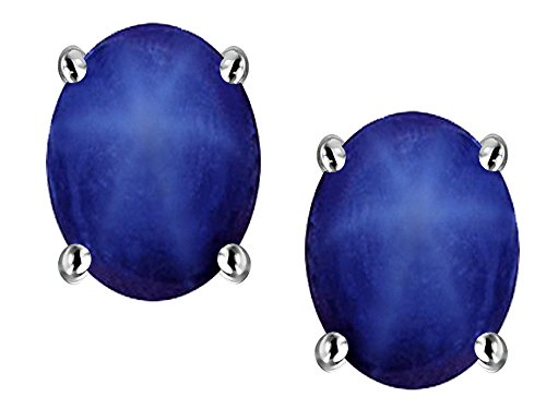 Star K Oval 8x6mm Created Star Sapphire Earrings Studs 14kt