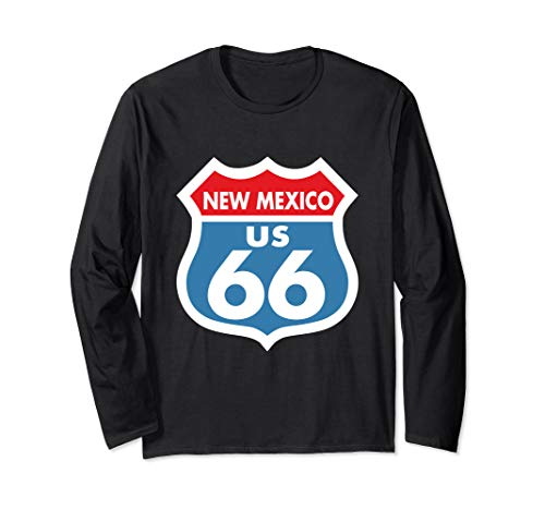 Route 66 New Mexico Highway Sign Color Long Sleeve T-Shirt