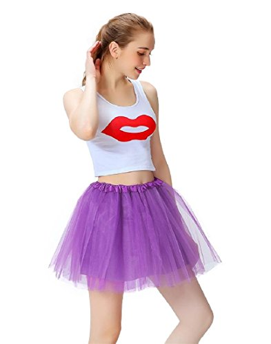 Women's 3-Layered Elastic Tutu Skirt Vintage 1950s Short Tulle Petticoat Ballet Bubble (Halloween Costumes With Puffy Skirts)