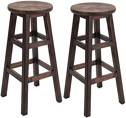 Peachy Amazon Com Cjc Bar Stools Pine Wood Natural Wooden Evergreenethics Interior Chair Design Evergreenethicsorg