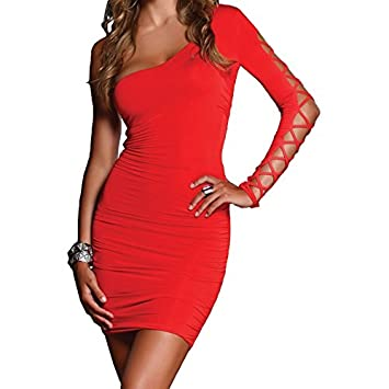 FORPLAY MINI VESTIDO ESCOTE ASIMETRICO ROJO - M