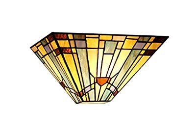 Chloe Lighting CH33293MS12-WS1 Kinsey, Tiffany-Style Mission 1-Light Wall Sconce, 12-Inch Wide, Multi-colored