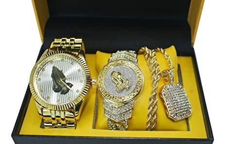 Men's ICED Out Hip HOP 14K Freemason Mason Gold PT Watch & Full ICED Necklace & Bracelet Combo Set (Pendant Only)