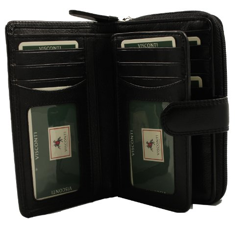 Visconti Heritage-33 Ladies Multi Card Holder Wallet and Purse (Black), Bags Central