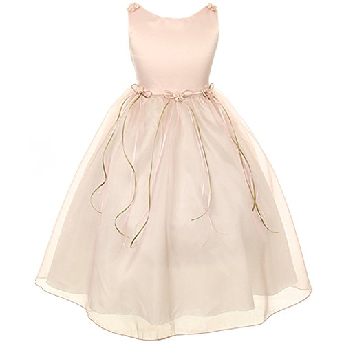 Pearl Rose Dusty (CrunchyCucumber Little Girls Satin Organza Dress with Simulated Pearls Accent Flower Brooch Flower Girl Dress Dusty Rose - Size 2)