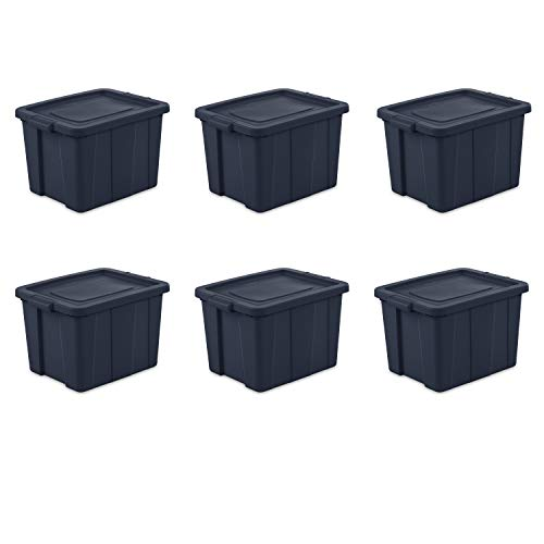Sterilite 16788N06 Storage Tote, 18 Gallon, Dark Indigo , Pack of 6
