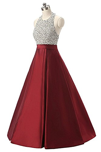 Vimans® Womens Long Burgundy Sequined Satin Graduation Prom Dresses Sleeveless with Pocket
